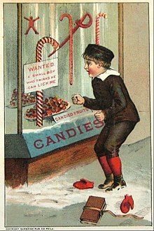 an early 1900s christmas card image of candy canes - Hard Candy Christmas Meaning