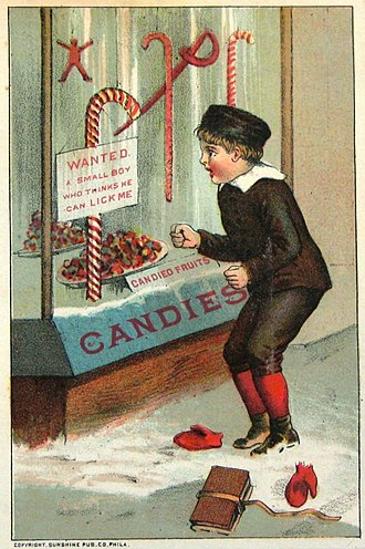 Candy cane - An early 1900s Christmas card image of candy canes