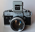 Canon FT w Booster and Canon E (Exacta) adapter (5991762591).jpg