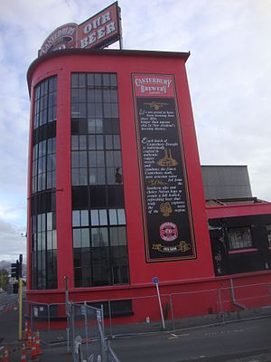 Beer in New Zealand - The tower of the Canterbury Brewery before demolition