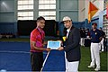 Captain Arjun Dev Nair, PD (Training), INA awarding the INA Open Tennis Championship for Autumn Term 2017 Gold medal to Cadet Irfan Husain of Fighter Squadron.jpg