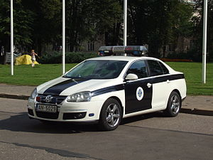 Latvian Security Service of Parliament and State President - Car of the Security Service near Riga Castle