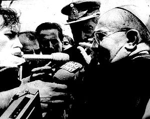 Antonio Samorè - Cardinal Samorè speaking to the Argentine press during the Beagle Channel conflict, 1978.
