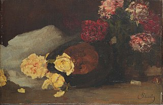 Still Life with Tea roses, peonies and Chapeau Claque