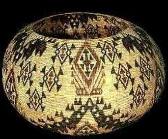 "Kucadikadi - Fine coiled basket made by Carrie Bethel, 30"" diameter basket, 1931–1935"