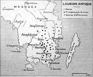 Laurium - Map of the mines of Laurion