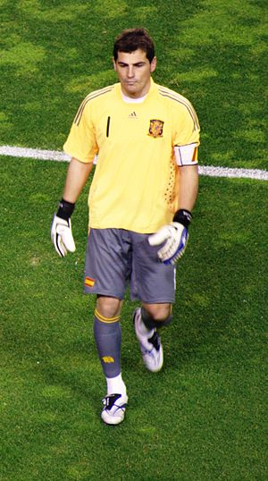 Armband - Spanish footballer Iker Casillas wearing a captain's armband for the Spanish national team.