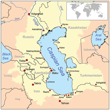 Map of the Caspian Sea, yellow shading indicates Caspian drainage basin. (Since this map was drawn, the adjacent Aral Sea has greatly decreased in size) - Caspian Sea