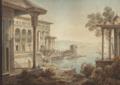 Cassas Vue du Bosphore à Constantinople, un palais au premier plan.png