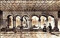 Cathédrale Saint-Maurice de Vienne Cloître dessin Gaucherel, gravée par Lemaitre 1845.jpg