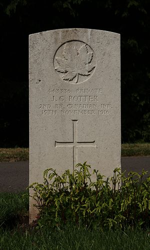 Royal Canadian Infantry Corps - Grave of Pte JG Potter, 2 Bn, killed in action 15 November 1916