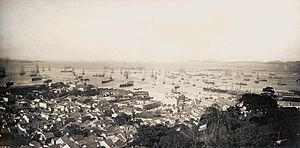 Economy of the Empire of Brazil - View from downtown of the city of Rio de Janeiro, 1889. International trade grew 3.88% annually over the course of 47 years.