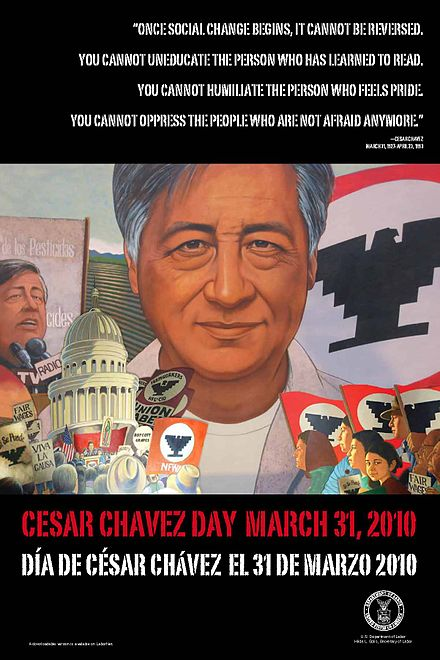"Cesar Chavez, supporters say his work led to numerous improvements for union laborers. Although the UFW faltered a few years after Chavez died in 1993, he became an iconic ""folk saint"" in the pantheon of Mexican Americans. Cesar Chavez Day.jpg"