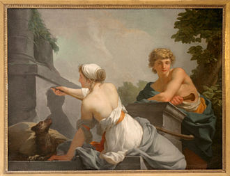 Butades - The Origin of Painting by Jean-Baptiste Regnault, 1785