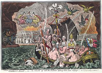 "A group of naked British Whig politicians, including three Grenvilles, Sheridan, St. Vincent, Moira, Temple, Erskine, Howick, Petty, Whitbread, Sheridan, Windham,and Tomline, Bishop of Lincoln, crossing the river Styx in a boat named the Broad Bottom Packet. Sidmouth's head emerges from the water next to the boat. The boat's torn sail has inscription ""Catholic Emancipation"" and the centre mast is crowned with the Prince of Wales feathers and motto ""Ich Dien"". On the far side the shades of Cromwell, Charles Fox and Robespierre wave to them. Overhead, on brooms, are the Three Fates; to the left a three-headed dog. Above the boat three birds soil the boat and politicians."