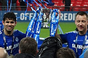 Diego Costa - Goalscorers Costa and John Terry celebrating Chelsea's victory in the 2015 Football League Cup Final.