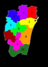 Divisions of Chennai city.  1. Egmore-Nungambakam 2. Fort Tondiarpet 3. Mambalam-Guindy 4. Mylapore-Triplicane 5. Perambur-Purasawalkkam.