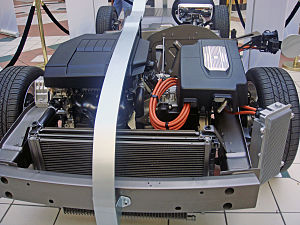 Engines of the Chevrolet Volt at a public exhi...