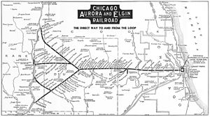 Chicago Aurora and Elgin Railroad - Image: Chicago Aurora and Elgin Railroad 1936 map