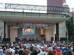 Chicago Blues Festival - The Blues Festival stage at the Petrillo Music Shell before nightfall