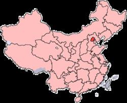 Localização da cidade na China