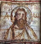 Buste de Jésus. Peinture murale dans les catacombes de Commodilla, fin du IVesiècle