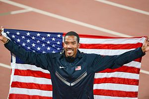 2015 World Championships in Athletics – Men's triple jump - Winner Christian Taylor with the second best jump in history