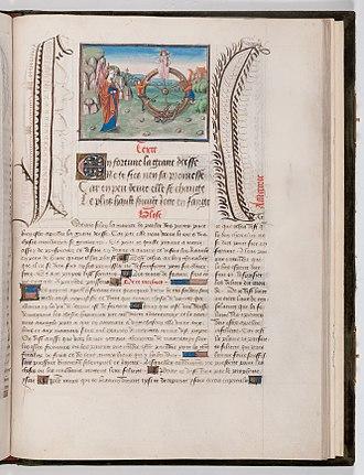 Jean Miélot - Folio 41r 'Wheel of Fortune' from Epitre d'Othéa; Les Sept Sacrements de l'Eglise, c. 1455 at Waddesdon Manor
