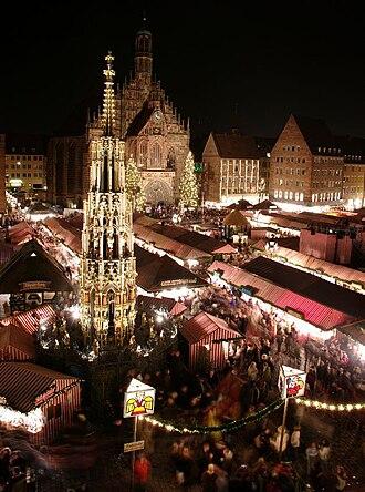 Nuremberg - Christkindlesmarkt with Schöner Brunnen
