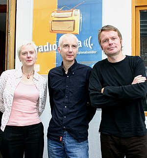 Chumbawamba - Jude Abbott, Neil Ferguson and Boff Whalley of Chumbawamba in 2005.