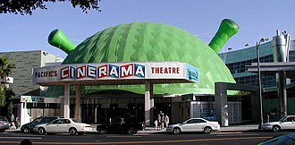 Welton Becket - Becket's Cinerama Dome, with Shrek 2 decorations.