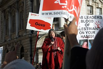 "Clare Short - Short speaking at a rally in Birmingham in January 2009, urging the crowd ""not forget the crimes being committed against the people of Gaza"" following the 2008–2009 Israel–Gaza conflict"