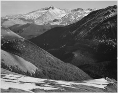 "Close in view, dark shadowed hills in foreground, mountains in background, ""Long's Peak, Rocky Mountain National Park,"" - NARA - 519963.tif"