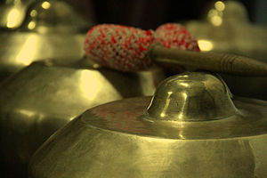 Gamelan degung - Closeup of a bonang from gamelan degung