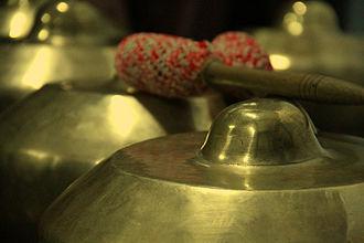 Gamelan degung - Closeup of a bonang from gamelan degung