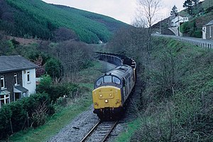 Coal industry in Wales - Coal train heading south from the South Wales Valleys, 1992