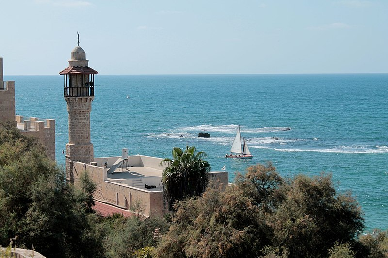 a minaret looking over the sea
