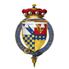 Coat of arms of Sir George Stanley, 9th Baron Strange, of Knockyn, KG