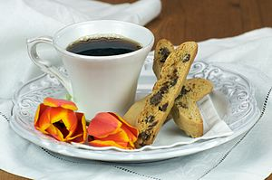 English: Coffee and Chocolate Chip Biscotti.