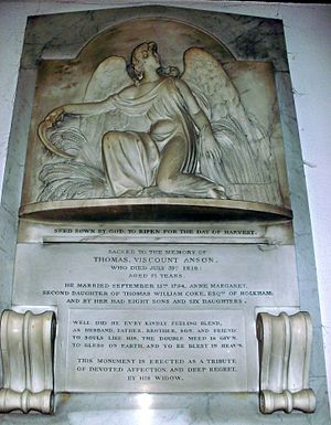 Thomas Anson, 1st Viscount Anson - Viscount Anson's memorial at St Michael and All Angels Church in Colwich