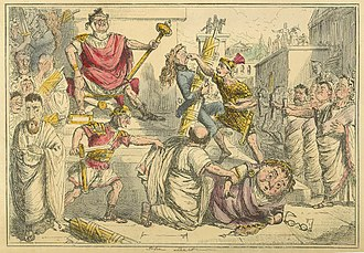 Lucius Tarquinius Superbus - Tarquinius Superbus makes himself King; from The Comic History of Rome by Gilbert Abbott à Beckett (c. 1850s)