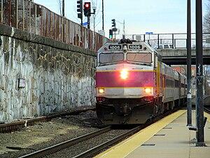 Porter (MBTA station) - An outbound commuter rail train arrives at Porter in 2012