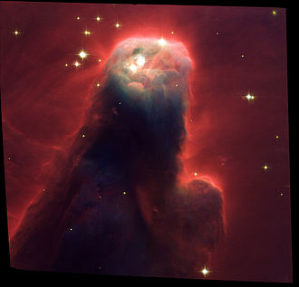 Perceptions of religious imagery in natural phenomena - The Cone Nebula, sometimes referred to as the Jesus Christ Nebula because of its resemblance to the popular depictions of Jesus with his hands in a prayer position.