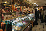 Confectionery counter in the ground floor food halls of Harrods department store, Knightsbridge, London.