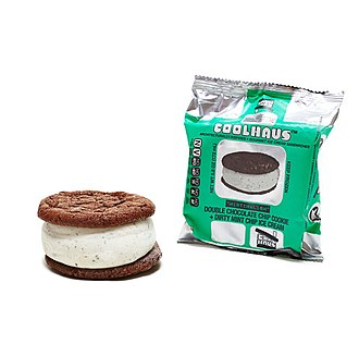 Coolhaus - Mintimalism sammie, composed of Double Chocolate cookies and Dirty Mint Chip ice cream
