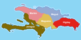 A map of Hispaniola depicting the five Taíno cacicazgos (chiefdoms) at the time of Christopher Colombus's arrival. The chiefdom of Marién is in the northwest, Jaragua is in the southwest, Maguana is in the center, Maguá is in the northeast, and Higüey is in the southeast.