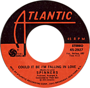 Could It Be I'm Falling in Love - One of A-side labels of U.S. vinyl release