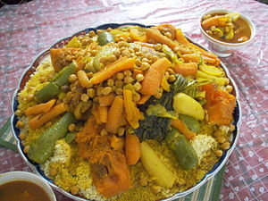 Maghreb cuisine - Couscous, here served with vegetables, is one of the most characteristic dishes of the Maghreb.