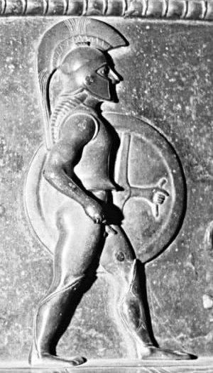 Early Roman army - Relief of a Spartan hoplite, c. 510 BC. Detail from the Vix bronze krater, Musée du Pays Châtillonnais, France