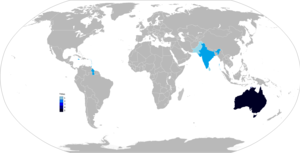 A map of the world, showing the locations of winning nations of the Cricket World Cup